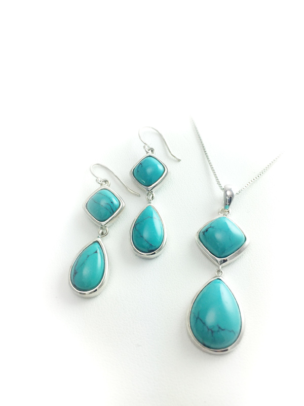 Sterling Silver Turquoise Teardrop-Shaped Earrings with Matching Pendant Necklace Set