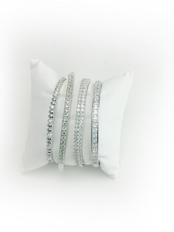 Sterling Silver Cubic Zirconia Bangle Bracelets