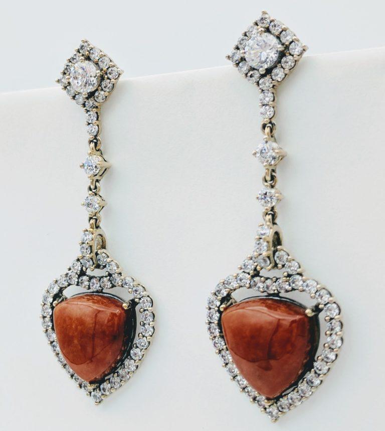 CZ & Jasper Heart Inspired Teardrop Heart Earrings